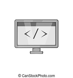 Monitor with sign left right icon in black monochrome style...