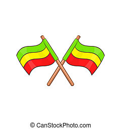 Rastafarian crossed flags icon, cartoon style - Rastafarian...