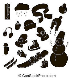 Winter icons set, simple style - Winter icons set in simple...