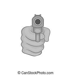 mão, com, arma, ícone, pretas, monocromático, estilo