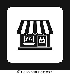 Supermarket building icon, simple style - icon in simple...