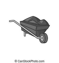 Wheelbarrow icon, black monochrome style - icon in black...