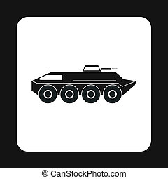 Armoured troop carrier wheeled icon, simple style - icon in...