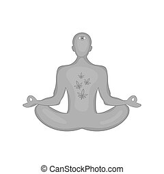 Man in lotus position had smoked marijuana icon in black...