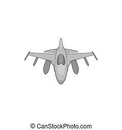 Military aircraft icon, black monochrome style - Military...