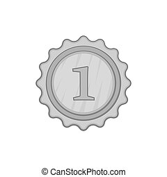 First place medal icon, black monochrome style - icon in...