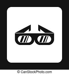 3D cinema glasses icon, simple style - icon in simple style...