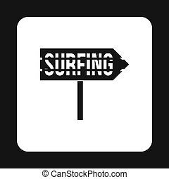 Surfing direction sign icon, simple style - icon in simple...