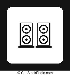 Two audio speakers icon, simple style - icon in simple style...