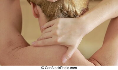 Woman rubs her neck cream. neck massage - Woman rubs her...