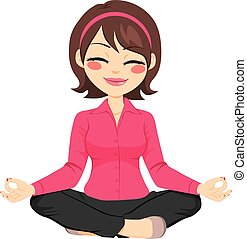 Businesswoman Doing Yoga - Young businesswoman in yoga lotus...