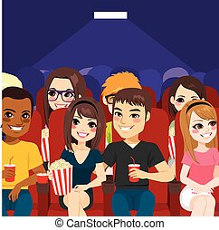 People Cinema Theater - Young people watching a movie at...