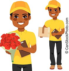 Courier Man Flower And Parcel - Young man courier delivering...