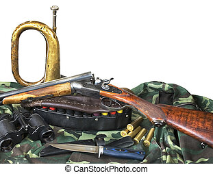 hunting equipment on white background - Hunting rifle,...