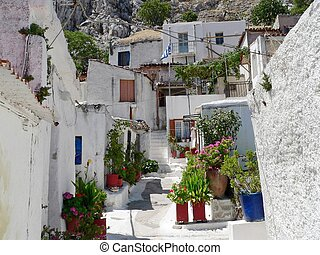 greek village - the habitation surrounding the acropolis in...