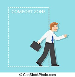 out of the comfort zone - businessman resolutely out of the...