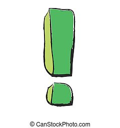 cartoon green exclamation mark, vector illustration icon