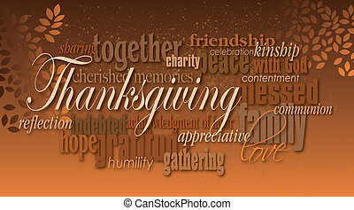 Thanksgiving holiday word montage with leaves - Graphic...