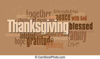 Thanksgiving holiday word montage - Graphic typographic...