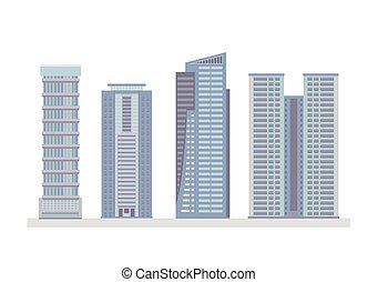 Flat City Skyscraper Business Buildings - Set OF Flat City...