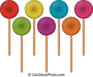 vector  colorful lollipop candies in the form of balls