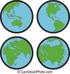 vector collection of earth globe flat symbols or icons