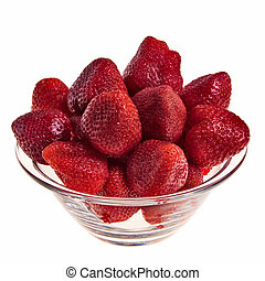 Fresh tasty strawberries in glass bowl isolated over white...