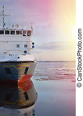 Arctic icebreaker is to clean the ice from the water