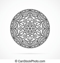Vector Black Color Mandala over white - Vector Black Color...