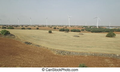 Going away from wind turbines aerial view, 4k - Aerial view...