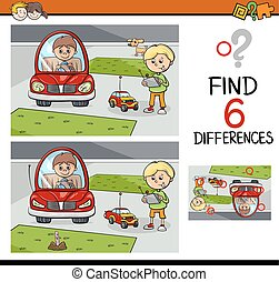 differences game for kids - Cartoon Illustration of Finding...