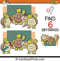 differences task for children - Cartoon Illustration of...