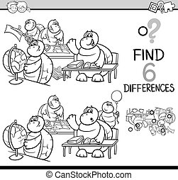 differences game coloring page - Black and White Cartoon...