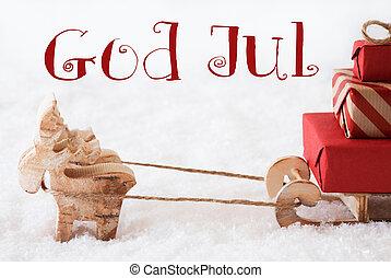 betyder, Gud,  Reindeer,  jul, Sne,  Sled,  Merry, Jul
