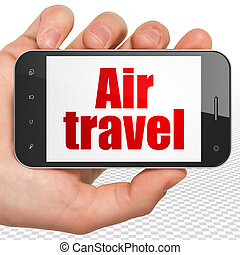 Travel concept: Hand Holding Smartphone with Air Travel on...