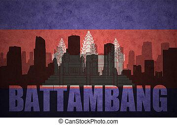 Abstract, silhouette, van, de, stad, met, tekst, Battambang,...