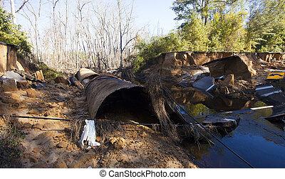 Hurricane Matthew damage - Water crossing washed away near...