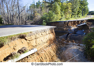 Road washed away after Hurricane Matthew - Road new...