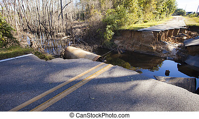 Road closed after Hurricane Matthew - Road near Fayetteville...