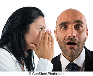 Say a gossip - Woman talking in secret to a man