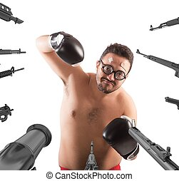 Worried goofy boxer - Military weapons pointed on a goofy...