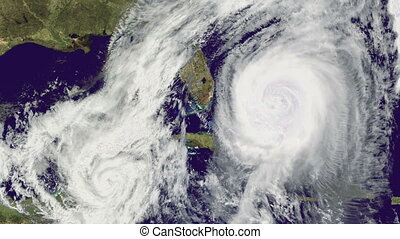 Double Hurricane over Florida., satellite view.Elements of...