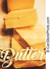 vendange, beurre, publicité, cuisine, art