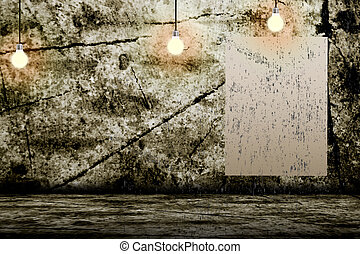 Hanging Light Bulb in the Empty Concrete Room