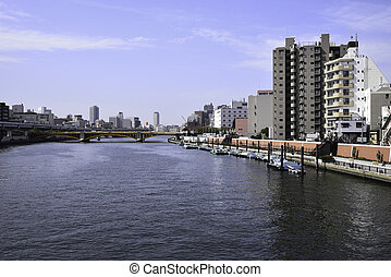 Sumida River - Kachidoki Bridge and Sumida River flowing...