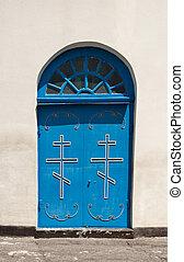azul, igreja, PORTA