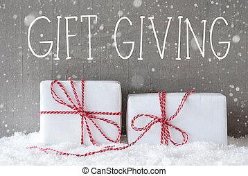 dos, regalos, con, Copos de nieve, texto, regalo, Dar