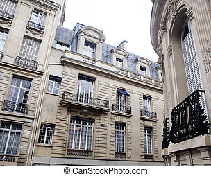 houses on french streets of Paris. citylife concept noone...
