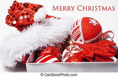 christmas red decoration isolated , white background for...
