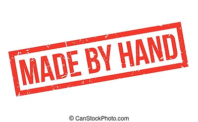 Made by Hand rubber stamp on white. Print, impress,...